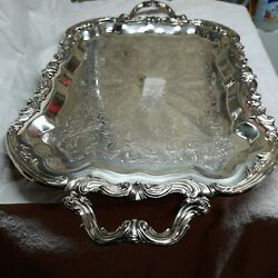 Fb Rogers Vintage Silver Plate Tray W Handles 25