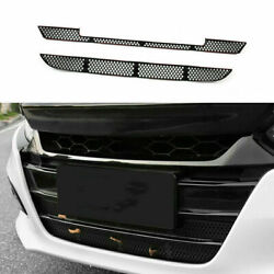 Fit For Honda Accord 2018-2020 Abs Black Front Bumper Anti-insect Net Grille 2pc
