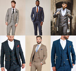 Menand039s Marc Darcy Tweed 3 Piece Suit Check Vintage Wedding Suit Tailored Fit