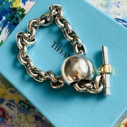 """Vtg And Co Italy Sterling Silver 18k Accent Toggle Link Bracelet W/ Box 8"""""""