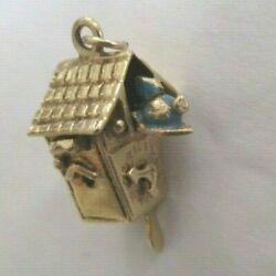 Vintage 14k Gold Cuckoo Clock Pendant With Bird Popping Out And Moving Parts 7/8