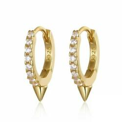 Gold Or Silver 925 Sterling Silver Tiny Small Stud Cz Pave Hoop Earrings Unique
