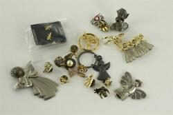 Mixed Lot Vintage And Modern Religious Costume Jewelry Angel Brooch Lapel Pins