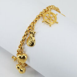 New 24k Solid Yellow Gold Heart Sailor Charms Bracelet 21.5 Grams 6.5