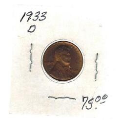 1933 D Usa Lincoln Wheat One Cent Coin Penny