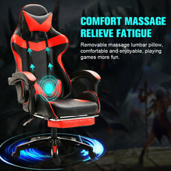 Gaming Chair Office Racing Style Leather Computer Swivel Desk Massage Red Seat