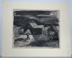 James E. Routh 1918-2016 Ink And Watercolor Untitled Signed Dated 1940