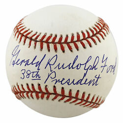 Gerald Rudolph Ford 38th President Authentic Signed Oal Baseball Psa Ai02172
