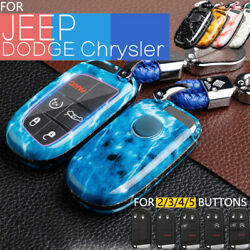 Abs Car Key Fob Cover Skin Case Shell Chain For Jeep Dodge Chrysler Accessories