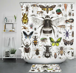 Watercolor Wild Insect Butterfly Shower Curtain Sets For Bathroom Decor W/ Hooks