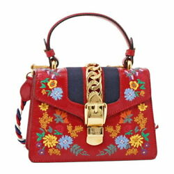 470270 0go2g Sylvie Floral Embroidery 2way Shoulder Hand Bag Red Rare