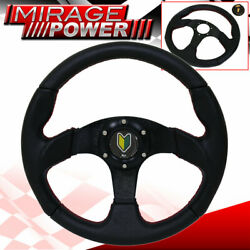 Jdm Leaf Horn Button + 6 Bolt Pvc Leather Steering Wheel Red Stitching Universal