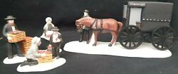Dept Department 56 Nev Amish Family W/ Mustache Set/3 And Amish Buggy Mib