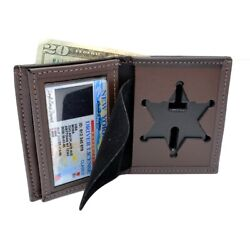 Illinois Sheriff 6 Pt Star Banner Badge Wallet Brown Basketweave Double Thick