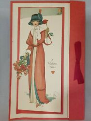 1900s Valentines Day Card Victorian Lady Raphael Tuck Large @ 10x6 Inch Antique