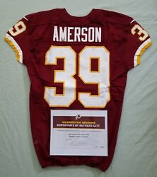 39 David Amerson Of Redskins Nfl Game Used And Unwashed Jersey Vs. 49ers Wcoa