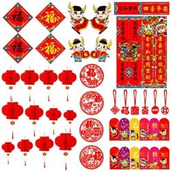 Chinese New Year Decorations52 Pcs- Red Envelopes Paper Lanterns Couplets Fu