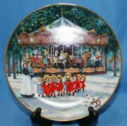 Limited Edition Sandi Lebron Carousel Holidays 8 Plate W/ Stand Fine Porcelain