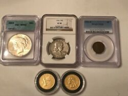 Us Coin Lot Collection Encapsulated Peace-franklin Half-washington-lincoln Cent