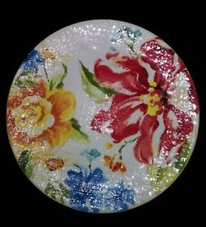 Pier 1 One Floral Textured Salad/ Luncheon Plate 9 Replacement Used