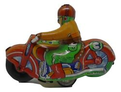 Penny Toy Lithographed Tin Friction Powered Motorcycle Bike Alps Japan 1950s