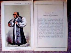 Antique 1869 Vanity Fair Print With The Rare Text Sheet Bishop Of Peterborough