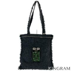 Robot Large Shopping A94646 Black Tweed Womenand039s Tote Bag From Japan