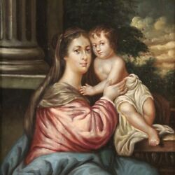 Religious Painting Antique Framework Virgin With Child Oil On Copper 800