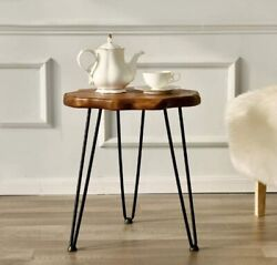 Side End Table Coffee Natural Wood Top Hairpin Legs Round Farmhouse Night Stand