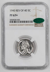 1940 Proof Jefferson Nickel 5c Reverse Of 1940 Ngc And Cac Pf 67+ Plus 002