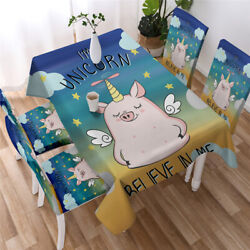 Cute Pig Tablecloth Colorful Nature 3d Print Table Cover For Kitchen Dining Room