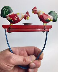 Vintage Tin Metal Rooster Chicken Pecking Mechanical Toy Works Great Antique