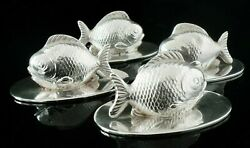 4 Sampson Mordan Sterling Silver Fish Menu Or Place Card Holders Chester 1909