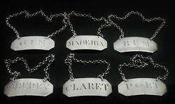 6 Scottish Antique Sterling Silver Decanter Labels Dick And Robertson C.1796