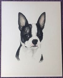 VINTAGE BOSTON TERRIER ART ON HARD BOARD 1986