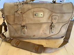 Gokey Orvis Tan Leather Briefcase With Shoulder Strap Messenger Style