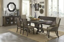 Rustic Brown 7 Ft. Country Farmhouse Dining Table Chairs Bench Furniture Set