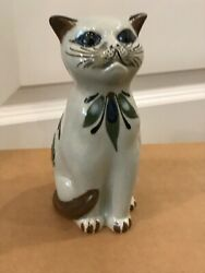 Painted Tonala Pottery Cat Figurine 6quot; Tall