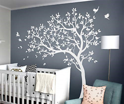Large Tree Wall Decals Nursery Wall Tree Stickers with Birds Stunning Tree Wall