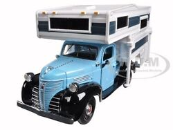 1941 Plymouth Pickup Truck With Camper Blue 1/24 Diecast Motormax 75330-73278