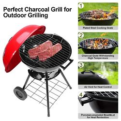 Portable Charcoal Grill Large 17'' Bbq Grills W/ Wheels Barbecue Smoker Oven