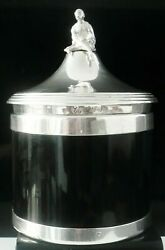 Antique Sterling Silver And Faux Shell Tea Caddy Sheffield 1900 Alexander Clark