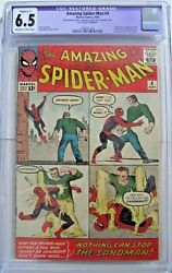 AMAZING SPIDERMAN #4 1ST SANDMAN 1963 HUGE MEGA MARVEL KEY HIGH GRADE CGC 6.5