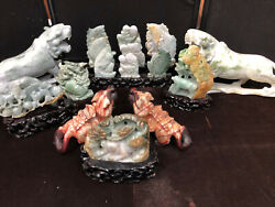 Large Collection Of Carved Jade Figures-tigers, Buddhas, Fairies,- Pick Up Only