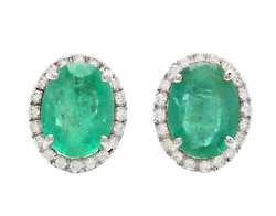 4.45ct Natural Emerald And Diamond 14k Solid White Gold Earrings