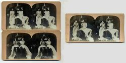 Lot Of 3 Female C1901 Risque Stereoviews-midnight Raid On The Pantry Nudie