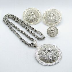 Beautiful India Sterling Silver Woven Medallion Necklace 20.5 Jewelry Set K894
