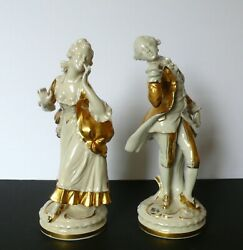Pair German Dresden Young Lady And Gentleman Porcelain Gold Figurines