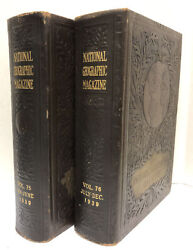 1939 The National Geographic Magazine Bound Library With Maps Volumes 75 And 76