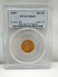 1927 Gold Us 2.5 Indian Head Quarter Eagle Coin Pcgs Ms 62,free Shipping